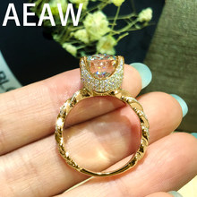Solid 14K 585 Yellow Gold 2.5ctw EF Moissanite Engagement Ring for Women Heavy Gold Style(China)
