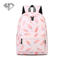 Korean Fashion Casual Backpack Cute Radish Printing Schoolbags Large Capacity Computer Shoulder Bag E