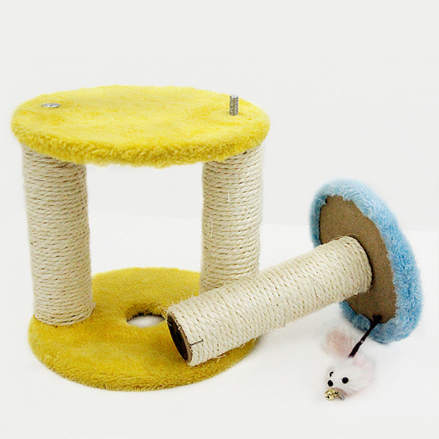 Petforu Round Shape Cat Climbing Frame Claws Grinding Three Layers Sisal Mice Catch scratching post toy Training Jumping Toys
