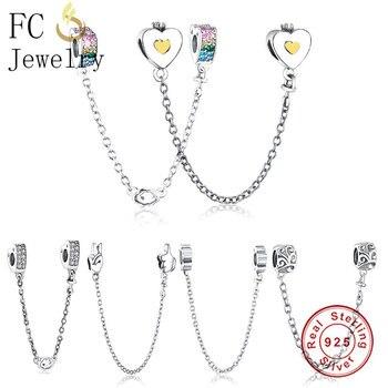 674c5477ce2b FC joyería Original Pandora pulseras de los encantos de corazón de plata de ley  925 cadena de seguridad con colgante CZ cuentas Berloque 2018 DIY