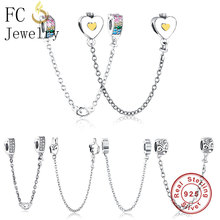 FC joyería Original Pandora pulseras de los encantos de corazón de plata de ley 925 cadena de seguridad con colgante CZ cuentas Berloque 2018 DIY