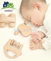 HARKO 6pcs/set Toys intellectual of children Montessori Toys Nursing Wooden Wooden Rattles Baby fun and interesting toys