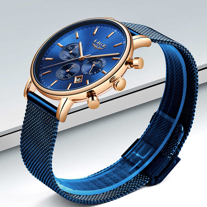 2019 nouveau femmes cadeau horloge LIGE marque de mode Quartz montre-bracelet dames de luxe en or Rose montre femme montre femmes Relogio Feminino