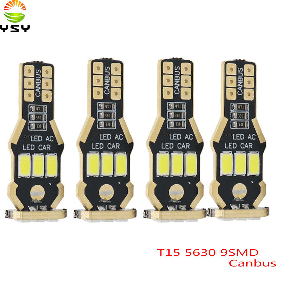 YSY 4 sztuk T15 W16W światło cofania żarówki 920 921 912 Canbus 5630 9SMD podświetlenia LED tworzenia kopii zapasowych światła parkingowe lampa żarówki DC12V