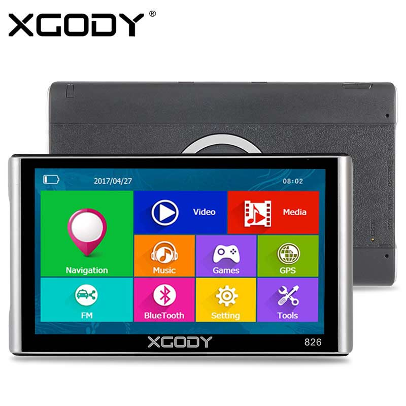 XGODY 826 7 inch Car Truck GPS Navigation 256M 8GB Capacitive Screen Bluetooth AV-IN FM 2017 Europe Russia Navitel Free Maps aw715 7 0 inch resistive screen mt3351 128mb 4gb car gps navigation fm ebook multimedia bluetooth av europe map