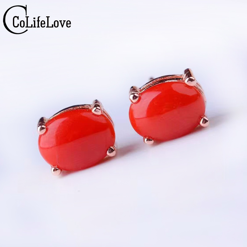 Simple red coral stud earrings 6*8mm natural precious coral earrings solid 925 silver coral earrings classic coral jewelry 7 пряди red coral