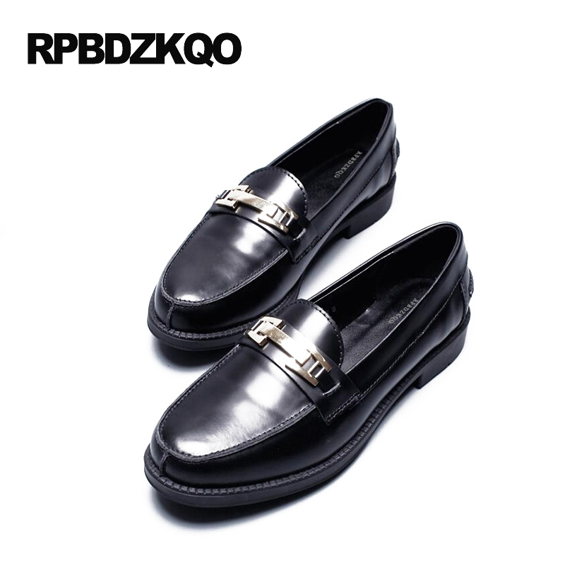 British Style Round Toe Loafers Black Ladies Platform Size 34 Flats Footwear 2017 Patent Leather Designer Shoes Women Luxury beffery 2018 spring patent leather shoes women flats round toe casual shoes vintage british style flats platform shoes for women