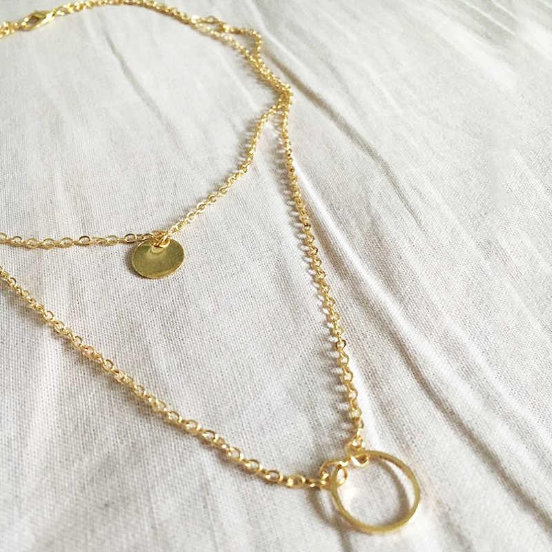 זהב מכירה לוהטת רב שכבה מסיבת תליון שרשראות כסף Exquesite 1PC 2019 חדש הגעה בנות נצנצים נשים מתכוונן מתנות