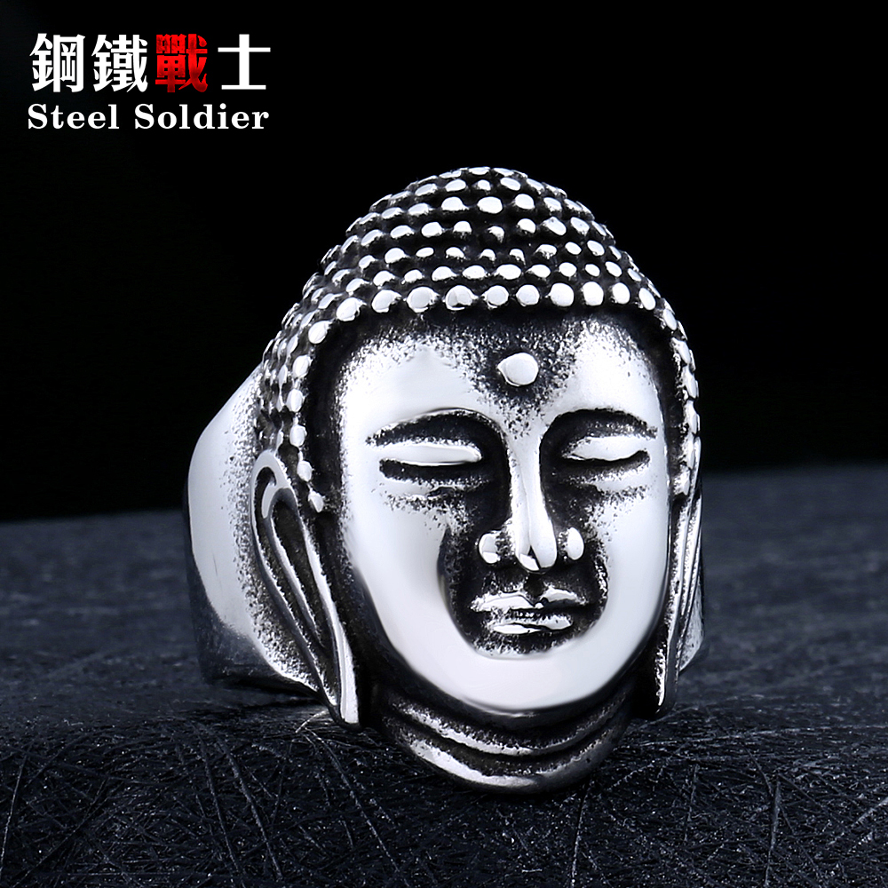 Steel soldier Sakyamuni Buddha ring 316L Stainless Steel Gold jewelry wholesale rings new hot