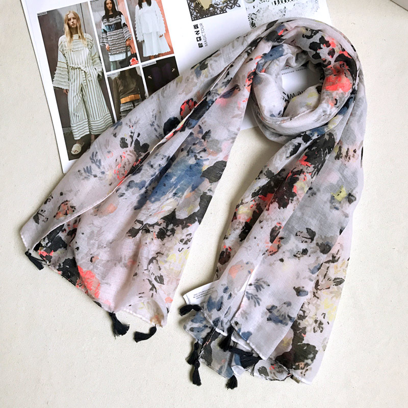 One Scarf Sale Women Stylish Hijab Blanket Scarf Large Size Wrap Soft Long Shawl Multi Print Design Stock Series