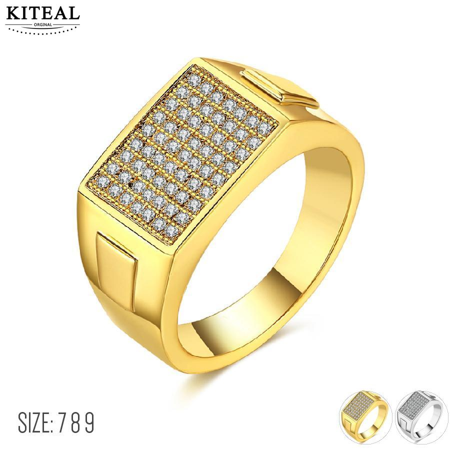 KITEAL 2017 new Gold color Yellow/White color size 7 8 9 wedding ring zircon men jewelry ring men margarida
