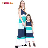 PaMaBa Grace Fashion Family Matching Maxi Dress Mom And Daugther Matching Clothing Cotton Striped Summer Casual
