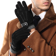 Men Genuine Leather Gloves Male Fashion Trend Autumn Winter Plush Lined Black Suede Sheepskin Touch Gloves 2019 NEW 9006