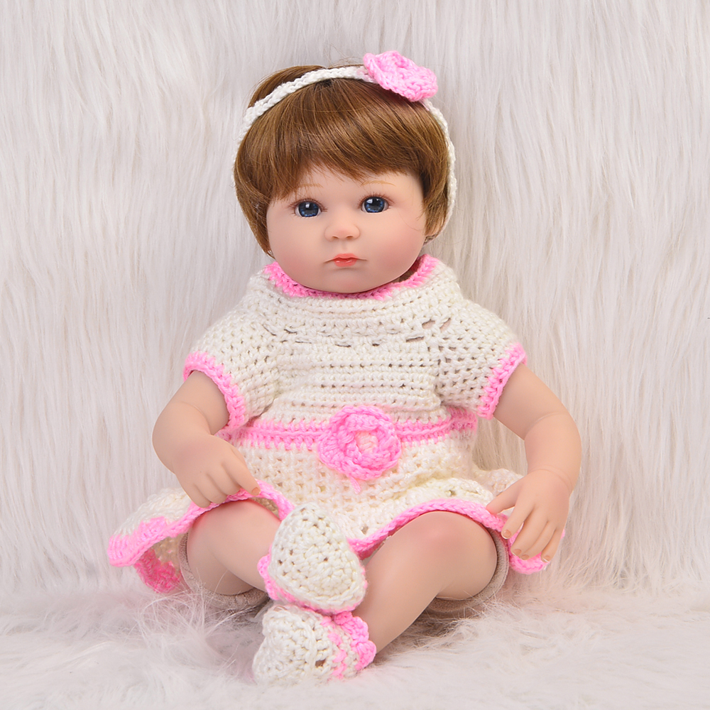 Fashion 17'' Baby Doll Reborn Silicone Vinyl Lifelike Cloth Body Newborn Dolls Princess Baby Toys For Best Birthday Gifts