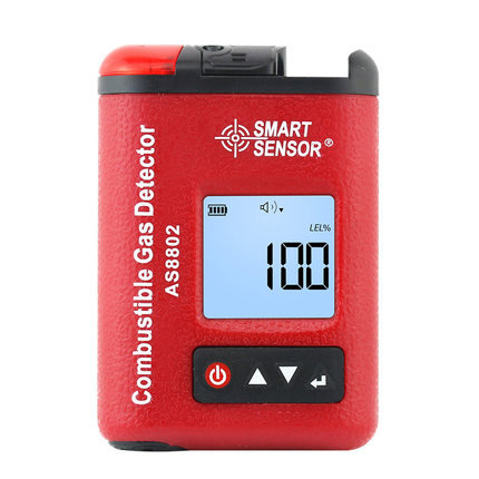 AS8802 Digital Flammable Gas Detector Gasoline Methane Gas Leak Alarm Detector Analyzer Monitor 0-100%LEL Rechargeable