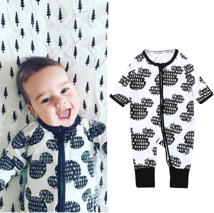 2018 Spring Summer Infant Baby Boys Girls Clothes Cartoon Mouse Dot Geometry Print Zipper Rompers Long Sleeve Girls Jumpsuit mother nest 3sets lot wholesale autumn toddle girl long sleeve baby clothing one piece boys baby pajamas infant clothes rompers