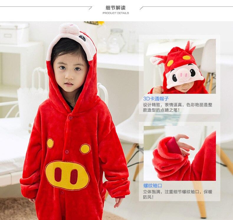 2e7fc93a99 Kids Baby Boys Girls Red Pig Onesies Pajamas Flaneel Fleece Winter Cartoon  Sleepwear Pyjamas 2016 Carnival Halloween Costumes on Aliexpress.com