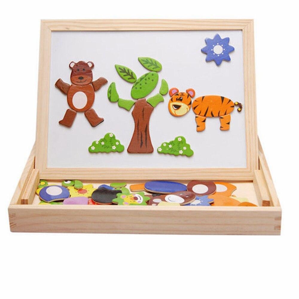 Alarm Houten Multifunctionele Kinderen Animal Puzzel Schrijven Magnetische Tekentafel Schoolbord Leren Onderwijs Speelgoed Voor Kids Punctual Timing