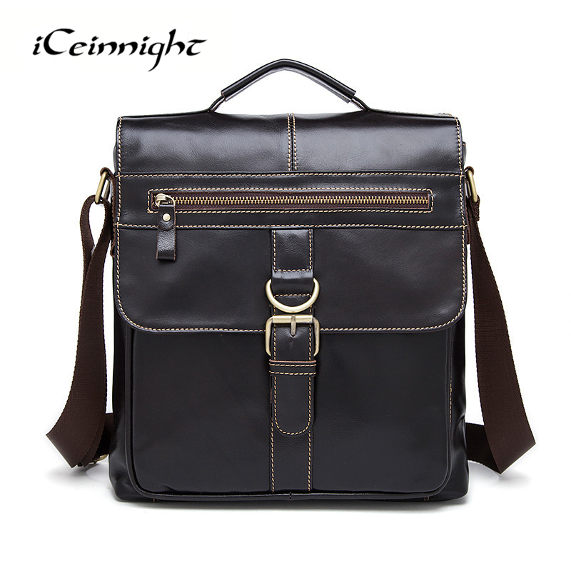 ФОТО iCeinnight Vintage Genuine Leather Men Messenger Bag Fashion Cowhide Shoulder Bag Crossbody Bag Casual High Quality Men Handbags