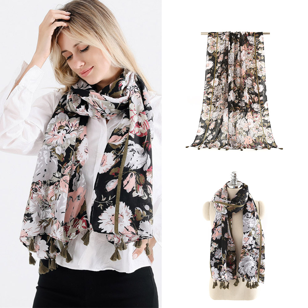 Women Black Flower Print Tassels   Scarves   Printed 2018 New Design Crepe Warm Silk Winter Ladies   Scarves     Wraps   180*90cm