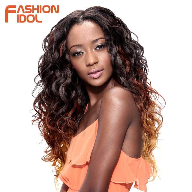FASHION IDOL Deep Wave Brazilian Hair Weave Bundles Ombre Brown 6Pieces 16-20 Inch 250g Synthetic Hair Extensions Free Shipping 1