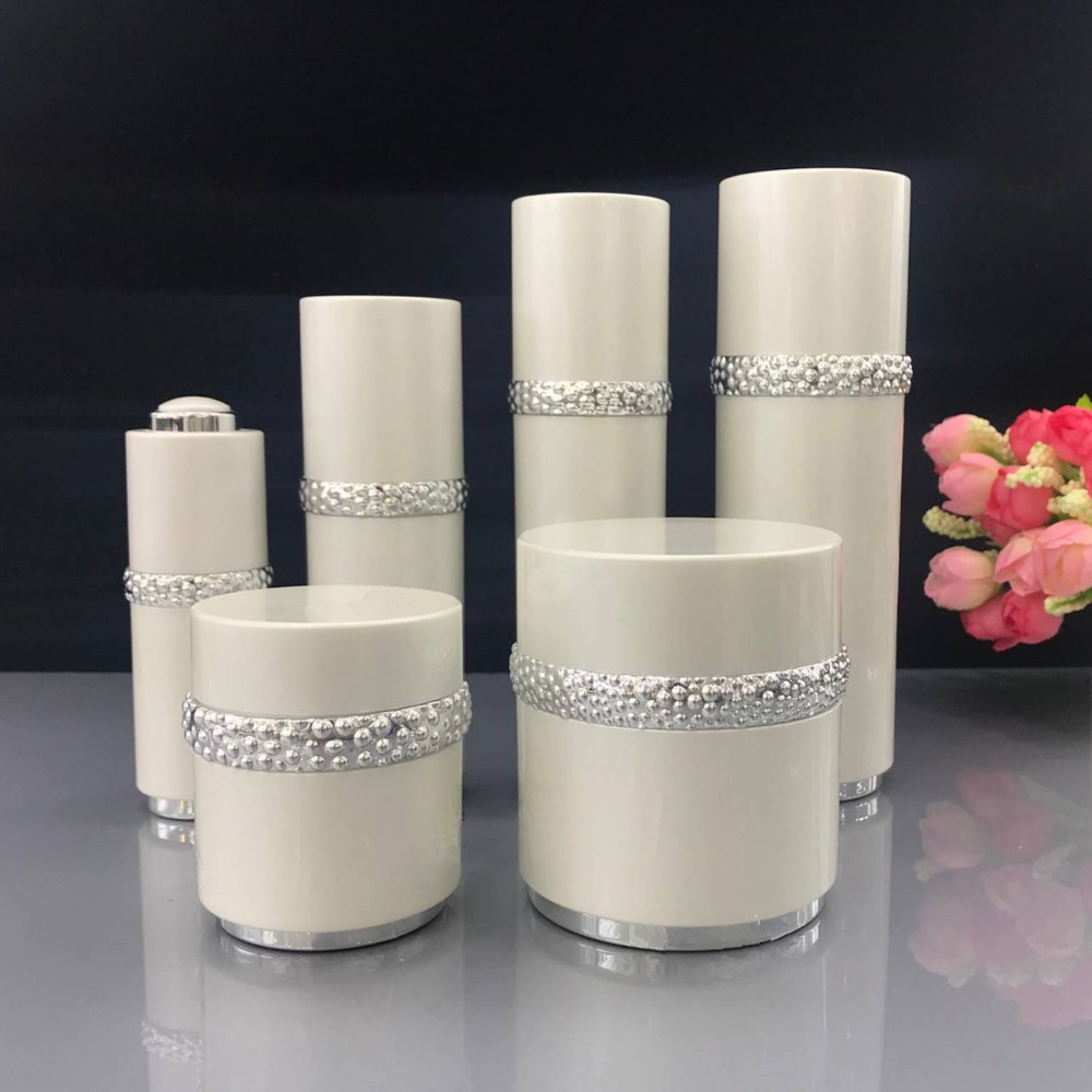 High Grrade Pearl Suit Cosmetics Sub Acrylic 15/30/50/120ML Lotion Pump Bottle,Classic 30/50G Acrylic Cream Jar 6PCS 1Suit high quality pearl white acrylic cream jar gold cap empty cosmetic container jar lotion pump bottle 30g 50g 30ml 50ml 120ml
