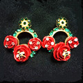 2016 Female Fashion sweet red rose rhinestone stud earrings for women vintage trendy jewelry ladies runway jewelry accessories