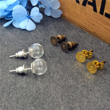 10sets/lot(5 pairs)8x3mm glass globe with ear stud findings set glass bottle glass vial pendant earrings accessory 5sets 25mm micro landscape ecological glass bottle glass pots with jewelry findings set glass bottle moss diy glass globe set
