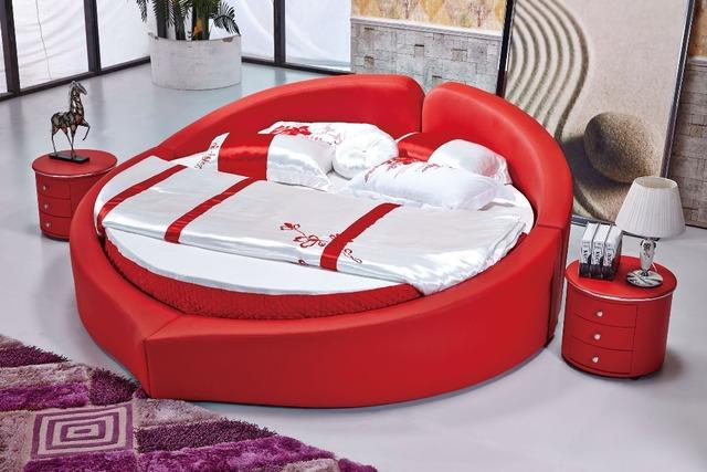 El moderno diseño de la cama de cuero suave / oro / doble grande muebles de dormitorio, estilo moderno redondo bed room