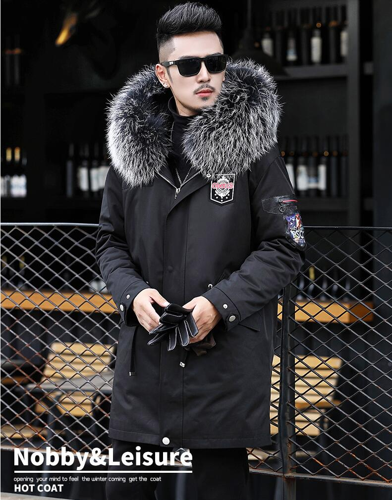 High Quality 2018 New Men Winter Jacket With Raccoon Fur Collar And Raccoon Fur Inside Warm Winter Coat