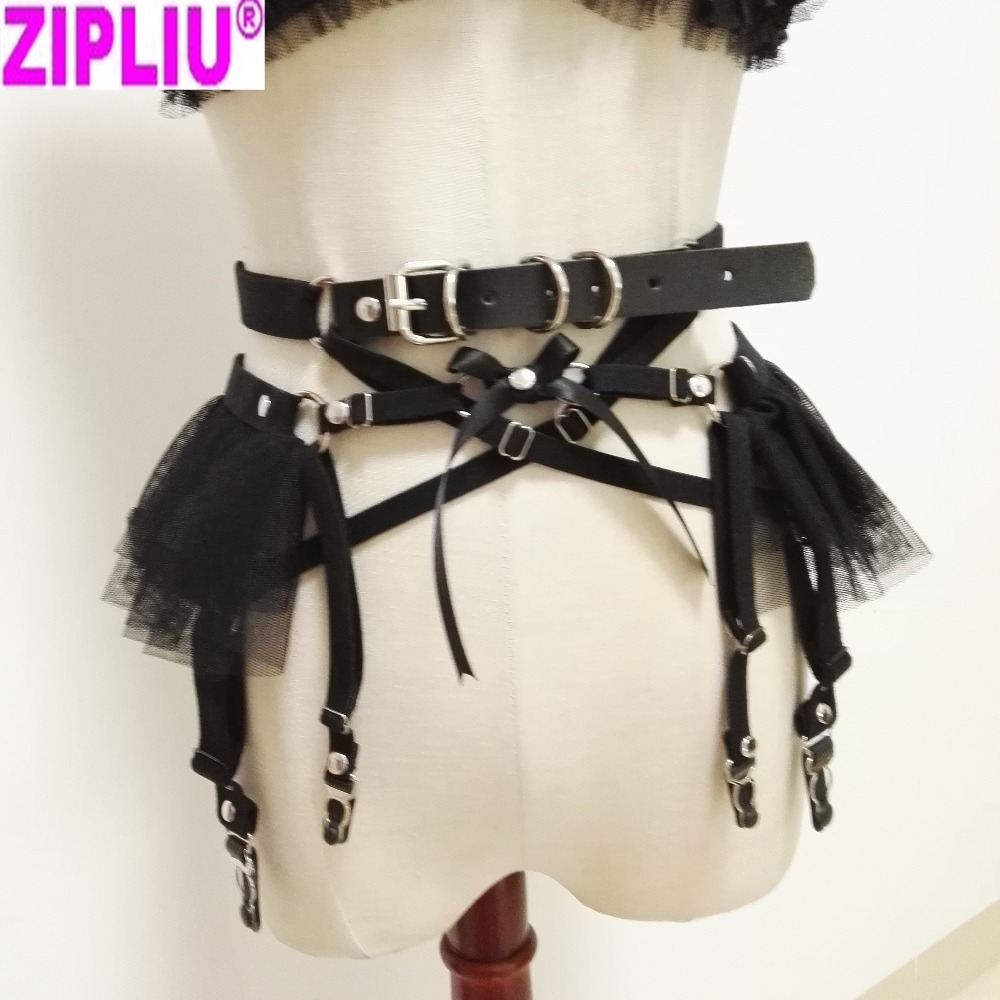 Women Sexy Punk Garters Handmade Leather garter Waist Belt Harness Metal Clips fashion Elastic Stocking garters