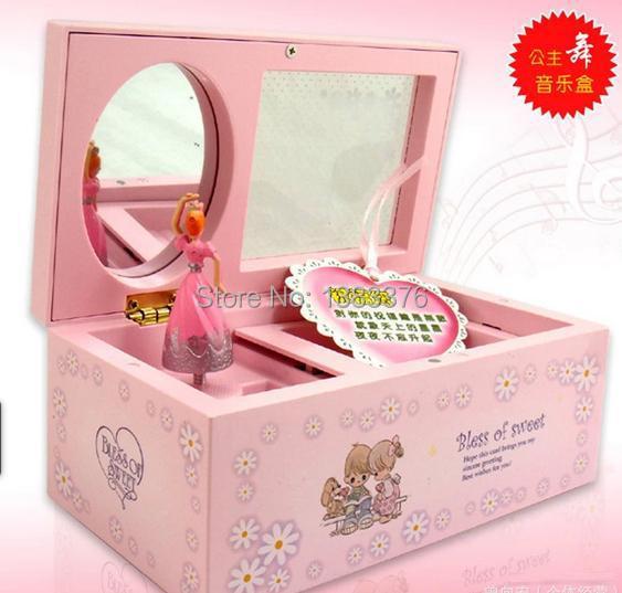 Music Box Cosmetic box Rotating music box mirror ballet girl jewelry