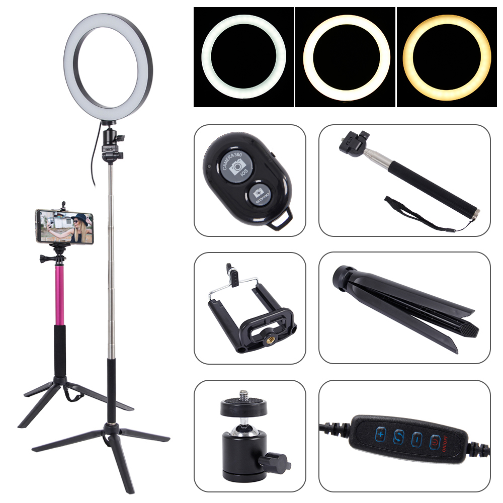 LED Ring Light Selfie Photography Full Light 3 Color Photo Studio Makeup Youtuber Video Live Streaming Camera LED Circle Lamp