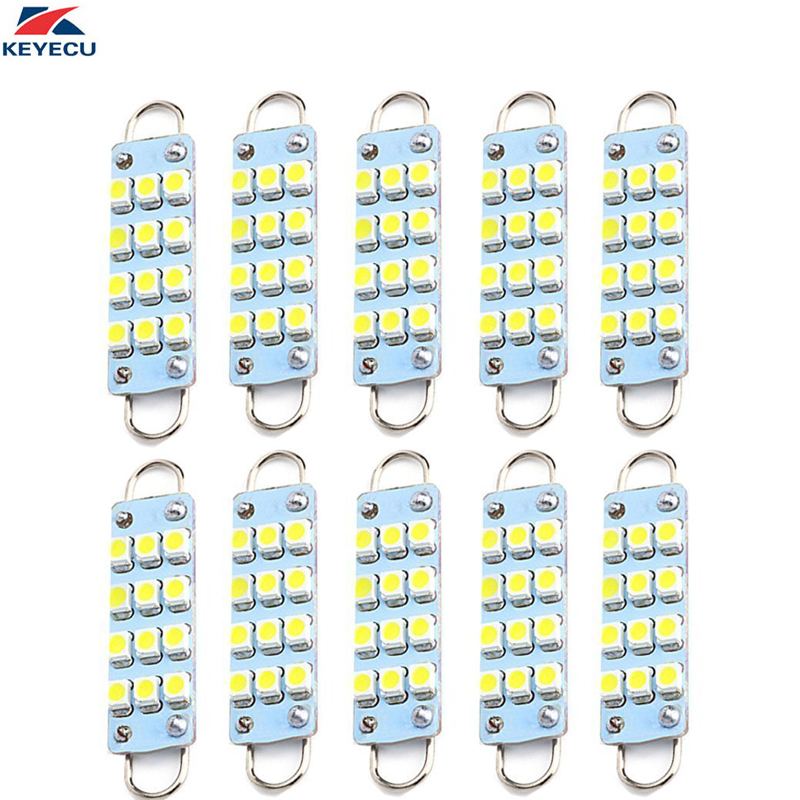 "10 x 44mm 9-SMD Interior White Festoon Rigid Loop 1.73/"" LED Light Bulb 560 562"