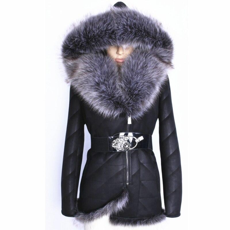 À Épaissie Outwear Hiver 2017 Artificielle Veste Taille De Fourrure Manteau Plus Capuche Très Grand La Haute Femmes Col Chaud Suède Qualité Xn6UqIq7