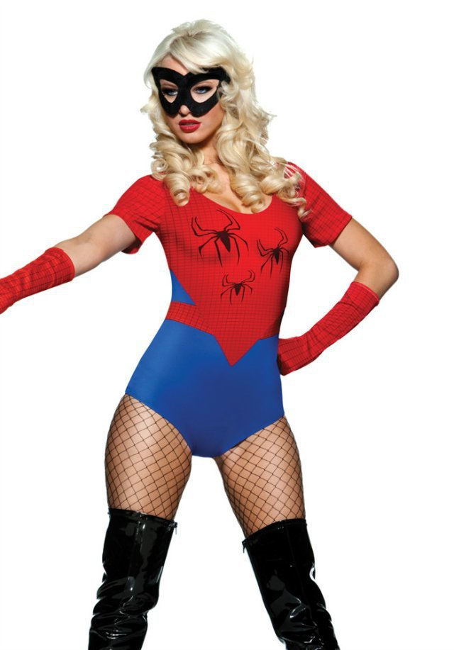 Spider Women Costume Red Blue Zentai Suit Sexy Girls Halloween Cosplay Costume Women -9369