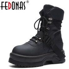 FEDONAS/Брендовые женские ботильоны с круглым носком, повседневные кроссовки, осенне-зимняя теплая обувь наивысшего качества, Женские базовые мотоциклетные ботинки