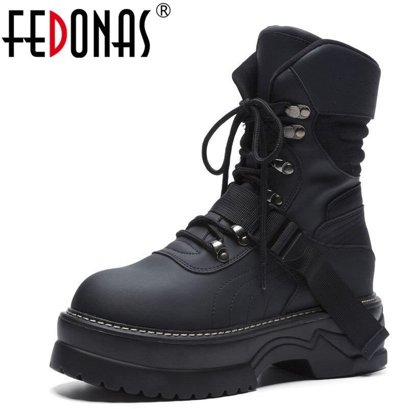 Fedonas 브랜드 여성용 앵클 부츠 라운드 투 캐주얼 스니커즈 가을 겨울 따뜻한 최고 품질의 신발 여성 기본 오토바이 부츠-에서앵클 부츠부터 신발 의  그룹 1