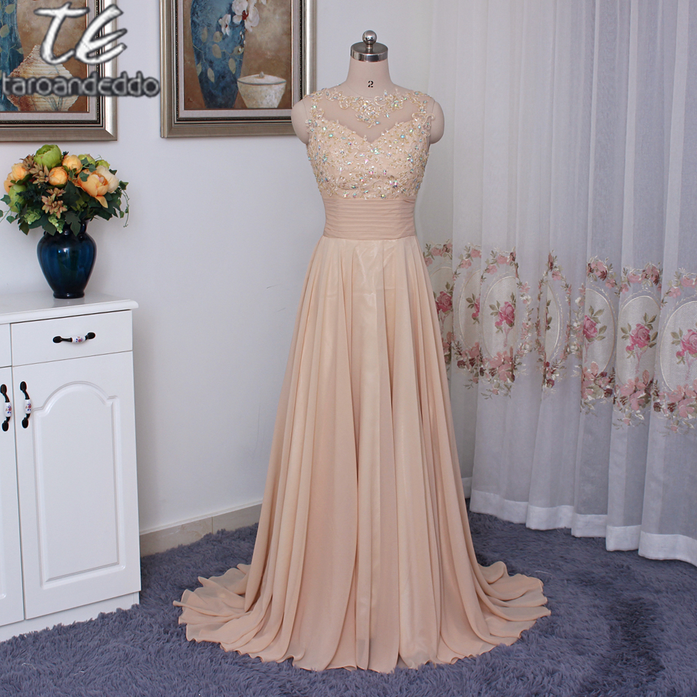 a02117f854f9 A line Champagne Chiffon Long Evening Dress Applique Lace Cutout Open Back Long  Prom Dress Party Formal Gowns-in Evening Dresses from Weddings & Events on  ...