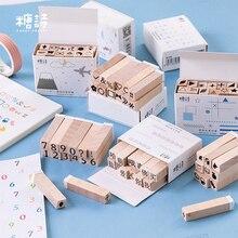 12 cái/hộp Kỹ Thuật Số động vật Cơ Bản đồ họa tem TỰ LÀM bằng gỗ cao su tem cho thêu Sò văn phòng phẩm thêu Sò chuẩn tem