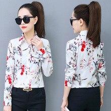 Korean Fashion Chiffon Women Blouses Print Turn-down Collar White Shirts Plus Size 4XL/5XL Blusas Femininas Elegante