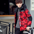 2016 Rib Knit Sleeves Hat Detachable Thick Warm New Winter Cotton-Padded Jacket For Young Men Fashion Parka Coat