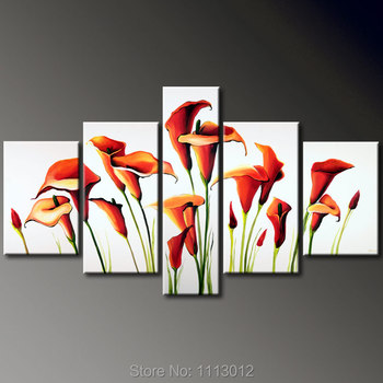 100% Hand Painted High Quality 5 Pcs Set Red Morning Glory Flower Decor Oil Painting On Canvas Home Modern Art For Living Room