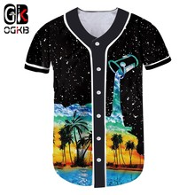 OGKB Summer Casual Tshirt Button Women/men Coconut tree 3d Print Cup Pour Milk Baseball Tshirt Unisex Short Sleeve Shirts(China)