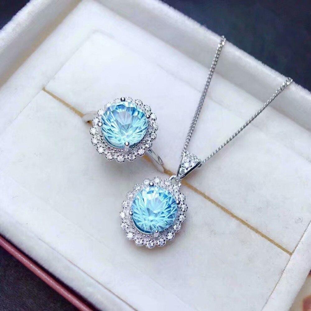 Shilovem 925 argent sterling naturel bleu bagues en topaze pendentifs beaux bijoux femmes de mariage ouvert envoyer collier tzj0808z080899agb