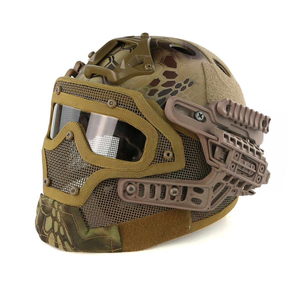 Kryptek Green PJ Type FAST Molle Tactical Helmet Combined With Full Mask and Goggles for Airsoft Paintball CS Hunting tactical fast mh standard helmet for airsoft paintball khaki