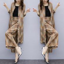 Impresión Floral moda Casual dos piezas sueltas tamaño grande para las mujeres  temperamento elegante Ensemble Femme 2d239e0c20dc