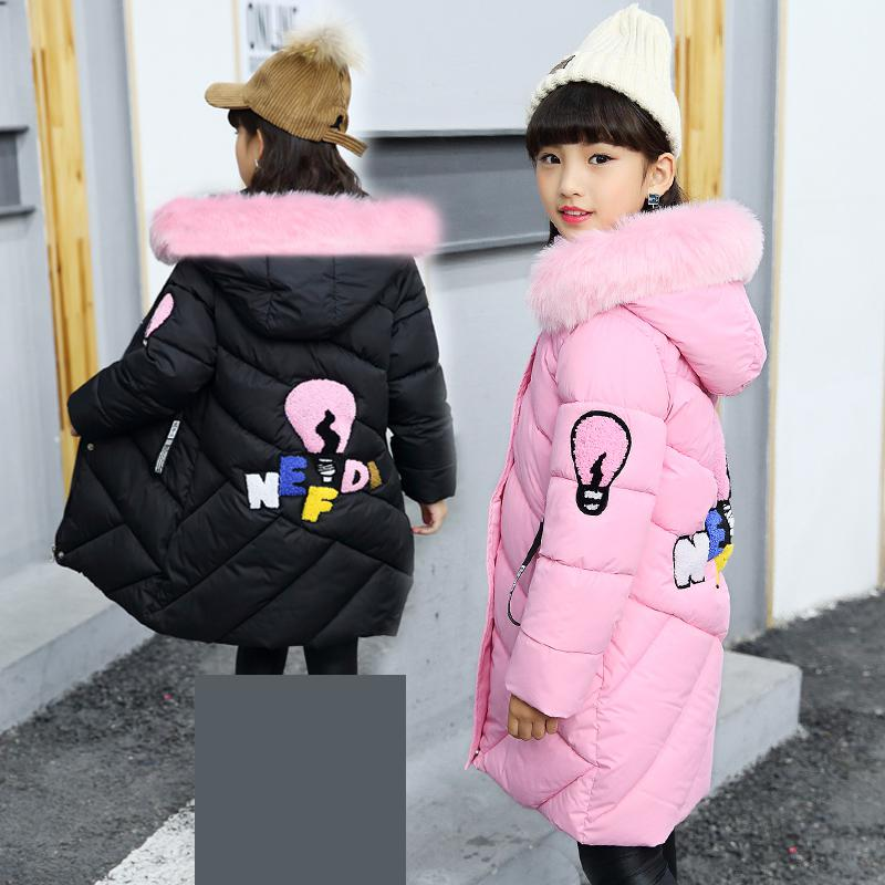 2018 New Winter Coats For Girls Jacket Hooded Kids Outerwear Thick Warm Children Down Long Jackets For Girls Coat 10 12 14 Years new 2018 fashion children winter jackets girls winter coat kids warm hooded long down coats for teenage girls casaco infantil 12