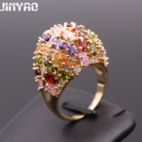 Luxury CZ Women S Rings Engagement Jewelry Multicolor AAA Cubic Zirconia Platinum Rose Gold Plated Rings