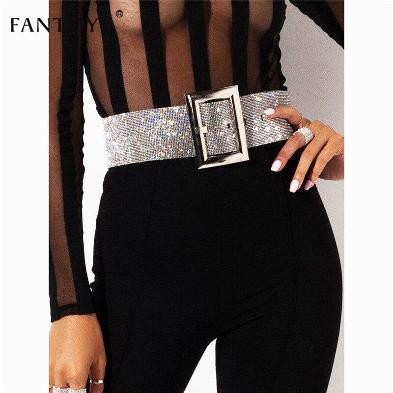 Fantoye 2019 New Rhinestone Women's Belt  Fashion Shiny Diamond Crystal Waistband Female Luxury Gold Silver Waist Party Belt